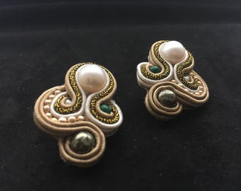 Elegant soutache earrings with natural pearls and pyrite