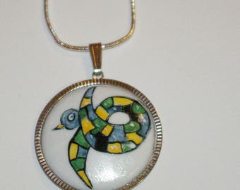 Handpainted porcelain atgente brass pendant with Choker