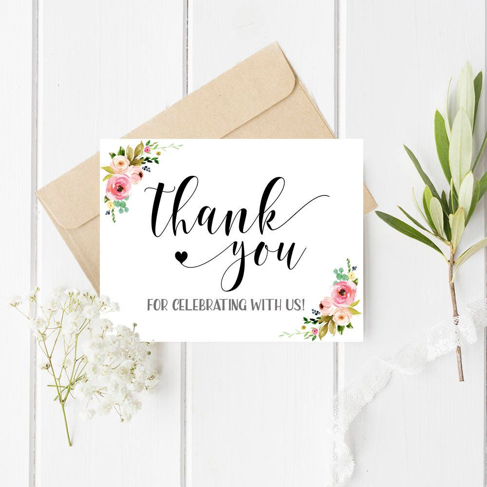 Thank you for celebrating with us card Wedding thank you cards ...