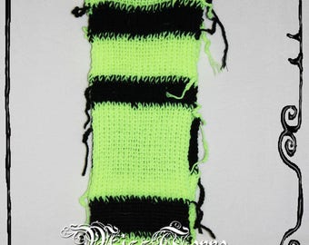 Bee - Scarf, yellow striped Scarf, black and fluorescent neon yellow/black design Missterre & the pickle, Handmade in France