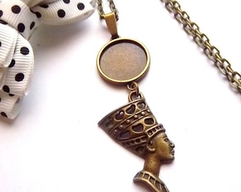 x stand necklace bronze 18 mm, eye of horus pendant cabochon