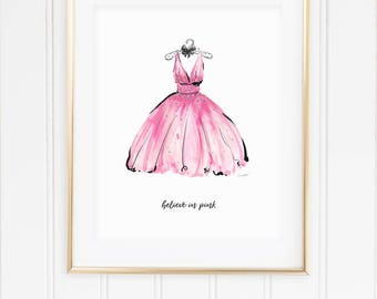 I Believe in Pink Print. Audrey Hepburn Quote Print. Fashion Quote. Fashion Print Fashion Wall Art Pink Dress Fashion Illustration Print.