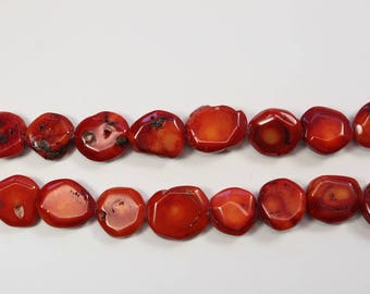Coral, Red Gemstone, Button, Flat Round, Natural Stone, Large Beads, DIY, BS297