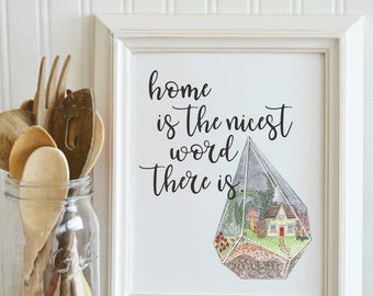Terrarium PRINTABLE art inspirational quote, typography, printable quote, little house on the prairie, tiny houses, home