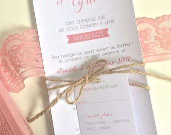 Light grey pink modern wedding invitation