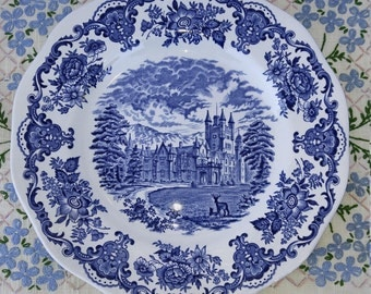Enoch Wedgwood Royal Homes of Britain Blue and White Transferware Plate, Balmoral Castle; Vintage Wedgwood, Dinner Plate, Serving Plate