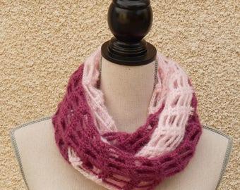 Elegant and romantic crochet pink Snood