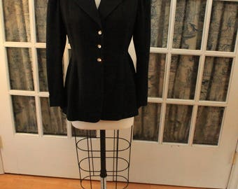 Black Peplum 1950's Suit Jacket With Swarovski Crystal Buttons