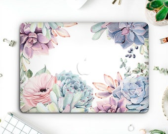 Succulents Floral Macbook Hard Case Laptop Sleeves Macbook Air 13 Macbook Pro Case Macbook Skin Macbook Cover Cactus Macbook Case AMM006