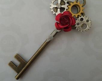 Steampunk Gear Rose Key Necklace Pendant