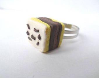 Polymer clay Neapolitan cake rectangle ring