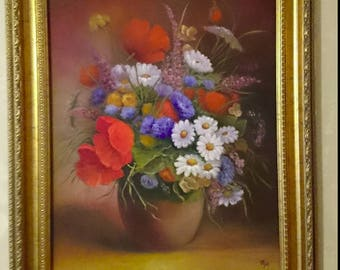 Meadow flowers in a vase-oil painting on canvas, framed,romantic