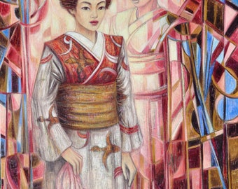 Memories of a Maiko - exceptional painting of Japanese inspiration