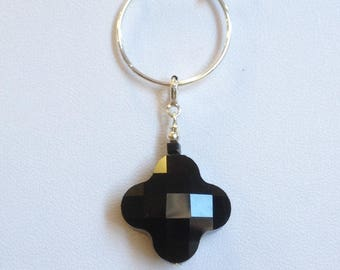 """Sterling Silver and black faceted glass """"Charms"""""""