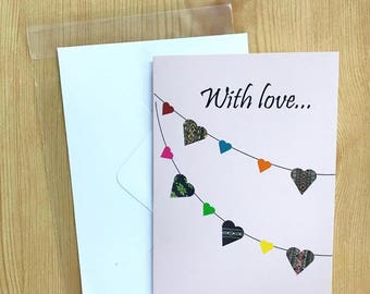 With Love Greetings card, Fair Isle detail