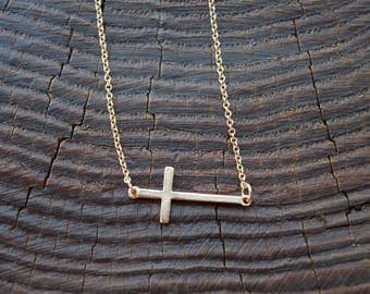 Handcrafted Gold Cross Necklace Charming Handmade