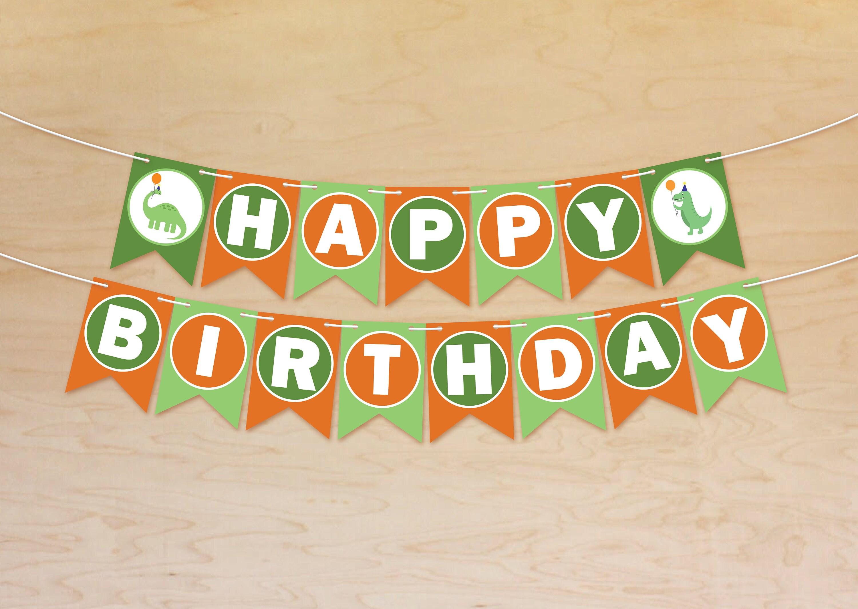 Printable Birthday Banner ~ Dinosaur birthday banner happy birthday banner dinosaur birthday