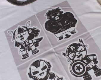 Super heroes Illustrated T-Shirt