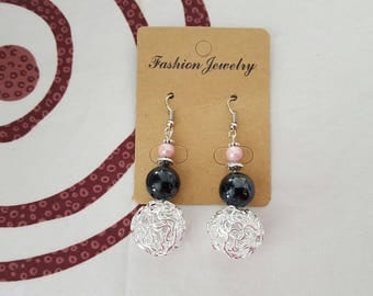 ball earrings aluminum silver metal, pearly pink porcelain bead, Black ceramic bead hook