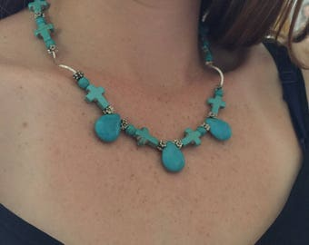 Turquoise and silver Cross and Tear Drop Necklace