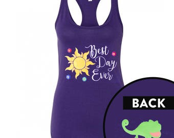 "Disney Shirt for Women, Tangled Tank ""Best Day Ever"", Ladies Rapunzel Top"