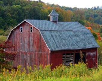 OLD RED BARN on a Family Farm In Central Wisconsin, shot in the late afternoon shadows of Autumn.