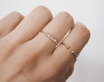 Simple ring, stacking ring, bar ring,  gold bar ring, minimalist jewelry R059