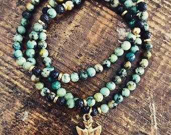 African Turquoise Wrap Bracelet