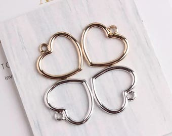 10 pcs of Heart Pendants Heart Charms Love Charms Gold Heart Silver Heart Metal Charm Elegant Charm Gold Plated Jewelry Charm 22x23mm