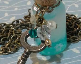 Glow in the dark. Bottle of dreams. pendant necklace.