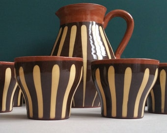 Vintage ceramic handicraft made in Germany brown beige carafe with 6 cups wine set juice jug with cups