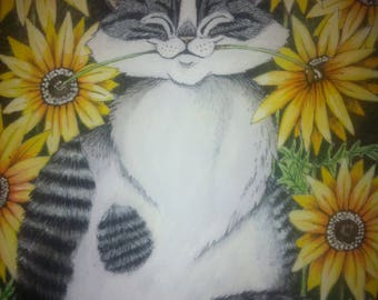 "Snuggles""original cat painting"