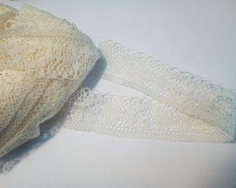 1 meter Ribbon/tape lace ivory yellow clear