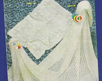 Original Vintage Sirdar Sunshine Baby Knitting Pattern 254 - Covers and Shawls