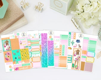 25% OFF SALE (no coupon needed) - Summer Forever Deluxe Kit - Vertical Planner Stickers (Weekly Sticker Kit) - For Use With Erin Condren LP