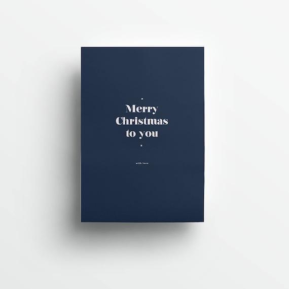 moderne Grußkarte Weihnachten, dunkelblau/weiß   |   modern greeting card Christmas, dark blue/white