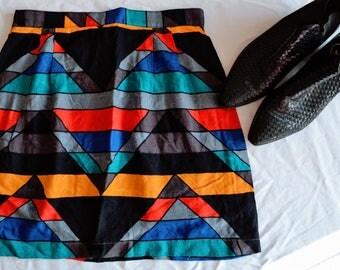 90s vintage skirt / geometric skirt / vintage mini skirt