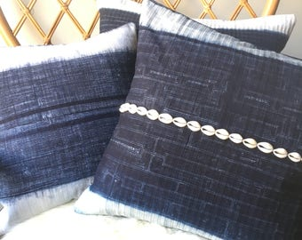 Hmong Indigo Batik Tribal Pillow Cover - Hand made in the hills of the Hmong Tribe - Indigo Blue & White Print - 18 x 18 or 22 x 22
