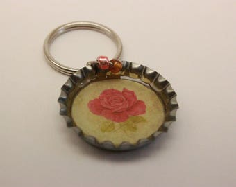 Vintage Rose Bottle Cap Keychain