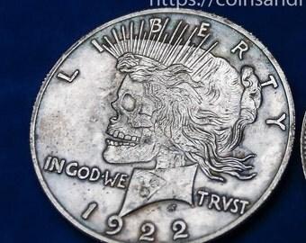 Hobo Nickel two face USA Morgan Dollar and Peace Dollar COIN