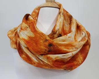 Hand Dyed Orange, Expresso, Burnt Umber 100% Silk Infinity Scarf
