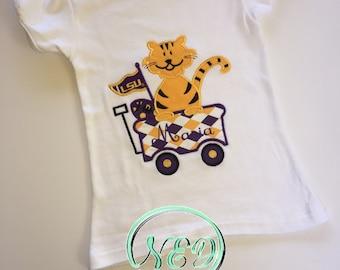 LSU Tigers Cheer Wagon Girl's Applique Shirt