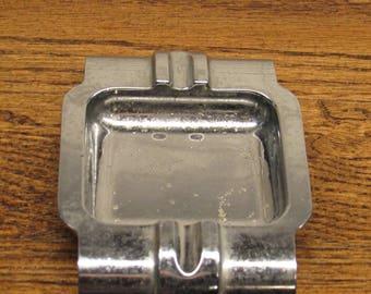 vintage chrome ash tray  retro