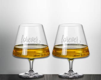 Set of 2 Forever Anniversary Brandy Snifter Glass Custom Personalized