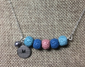 Personalized Initial Lava Rock Necklace