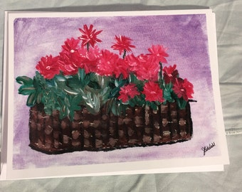 Note Card Basket of Flowers