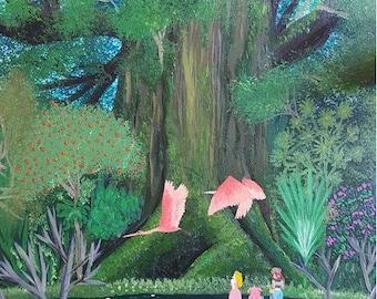 Secret of Mana acrylic painting. Mana Tree. Hand Painted