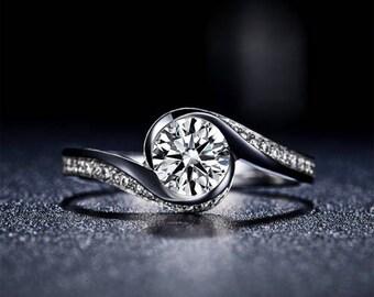 Round Diamond Engagement Ring 14k White Gold or Yellow Gold or Rose Gold Diamond Ring Curved Proposal Ring Anniversary Ring