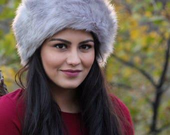Faux Fur Gray Headband