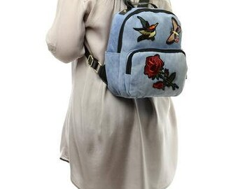 Jeans backpack, Blue backpack, Women backpack, Hand made bag, Small backpack, Stylish backpack, Vegan backpack, Eco backpack, Girl backpack